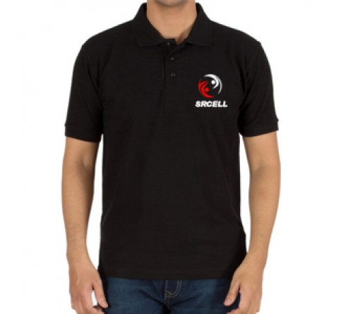 Embroidered Mix Cotton Polo T-Shirt Black